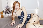 Reira Aisaki in japanese lingerie gives two guys head Photo 7