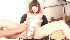 Megumi Shino sucking three guys in asian blowjobs porn