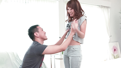 Nana Fujii - Naked teen kneels for a Japan blow job session - Picture 9