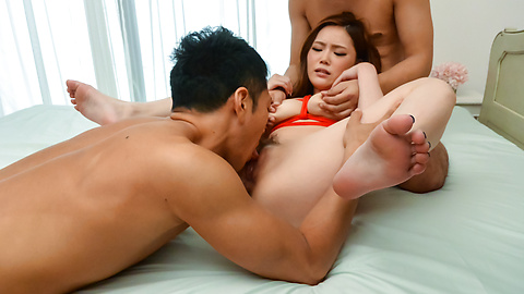 Aya Mikami - Aya Mikami hard fucked by two males in crazy threesome  - Picture 6