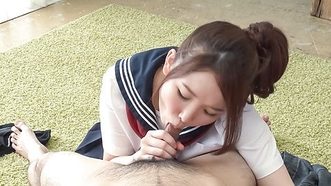 Asian schoolgirl sucks cock in perfect POV scenes
