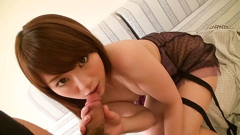 Teen Mayuka Akimoto Sucks Dick In See Through Lingerie