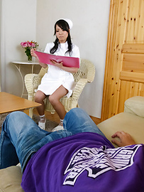 Miho Tsujii - Horny nurse Miho Tsujii gives an asian pov blowjob - Picture 2