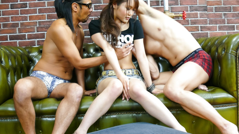 Miyu gets tons of cum in her pussy after a gang bang