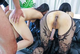 Asian amateur threesome along two staggering babes