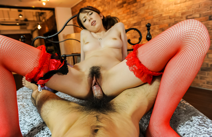 Yui Hatano gets a big dick to crack her hairy Asian cunt asian female, japanese pussy, japanese sex