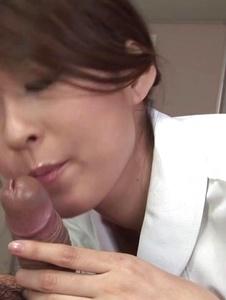 Risa Misaki - Hot Asian nurse provides sloppy Asian blowjob - Screenshot 12