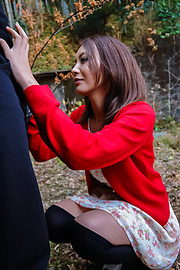 Kuraki Mio - Kuraki Mio enjoys Japan cum in outdoor oral  - Picture 8