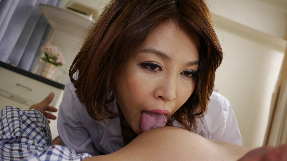 Hot Asian milf,Erika Nishino, stroking a hard dick