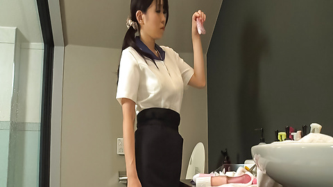 Yui Satonaka - Asian maid uses toys to stimulate her needy vagina  - Picture 1