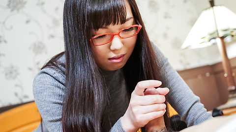 Chiemi Yada - Teen with glasses amazes with Japanese blowjob  - Picture 12