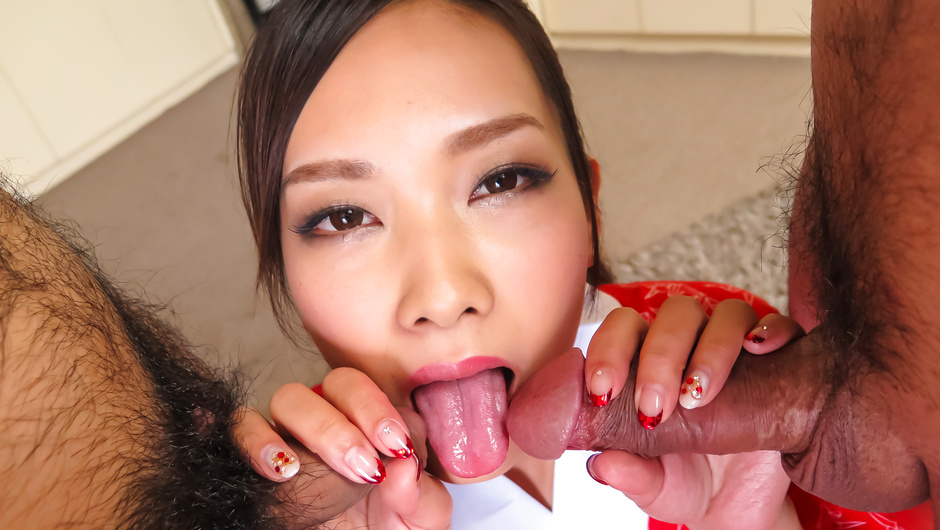 Saki Fujii provides Asian blowjob on two cocks