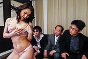 Big tits hottie enjoys group sex at work  Photo 4