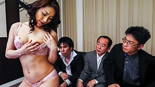 Hot Asian in sexy lingerie gets nailed in gangbang