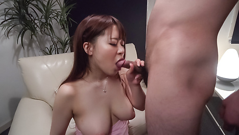 Busty milf dazzles with full Japanese blowjob
