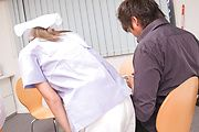 Chihiro Akino - Busty nurse amazes with two Japanese blowjobs  - Picture 3