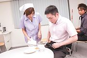 Chihiro Akino - Busty nurse amazes with two Japanese blowjobs  - Picture 6