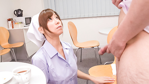 Chihiro Akino - Busty nurse amazes with two Japanese blowjobs  - Picture 11