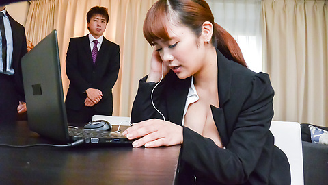 Anju Akane -  Anju Akane strips naked and fucks at the office with two men  - Picture 10