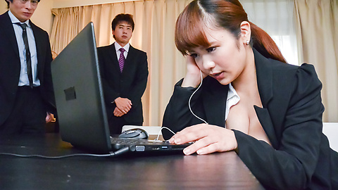 Anju Akane -  Anju Akane strips naked and fucks at the office with two men  - Picture 11