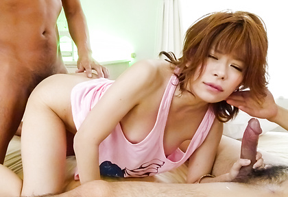 Threesome sex with a hot Japanese milf in need for cock