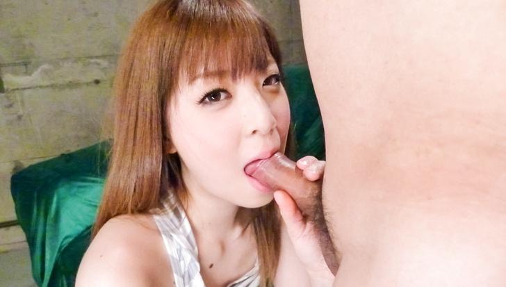 Marin Omi's asian blow job earns her cum to eat