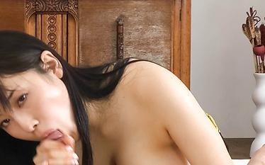 Lovely hot asian amateur Azusa Nagasawa sucks in POV