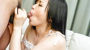 Curvy Yuka Wakatsuki gives a blowjob while being toy fucked