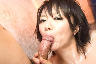 Oiled up Asian bimbo fondled and double penetrated