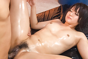 Haruka Uchiyama Oiled Up And Creampied In A Threesome