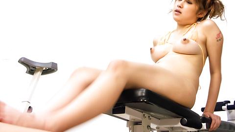Madoka Ayukawa - Naughty babe in micro bikini stroking cock and cum swallowing - Picture 12