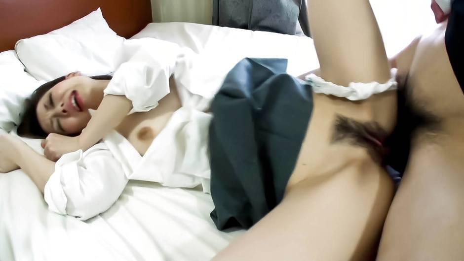 Yuu Sakura's hairy asian pussy drips a creampie