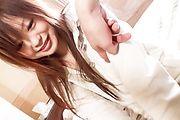 Noriko Kago's hairy snatch drips cum in asian POV Photo 1