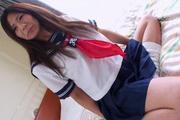 Pretty Yukari teenage school girl stripping off and masturbating Photo 1