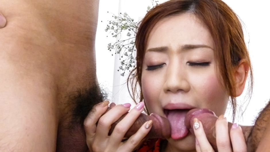 Japanese milf fucked by two males in rough ways