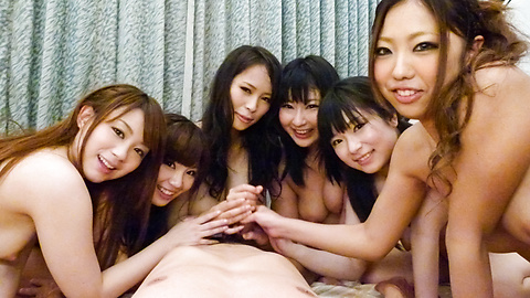 Three beautiful chicks give blowjobs in asian POV