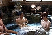 Premium Japanese group sex with naked Hitomi Oki Photo 3