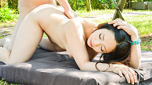 Outdoor av threesome experience with Mimi Aku