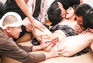 Hot Japanese gangbang sex for busty Mihane Yuuki