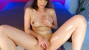 Oily MILF Saki Aoyama Rubs Her Pussy To An Orgasm