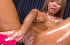 Oiled up blond pervert with big firm boobies getting naked and fondling her eager pussy