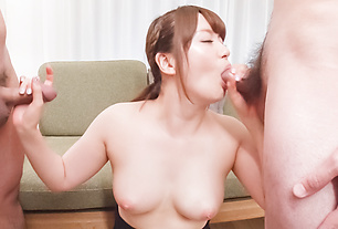 Passionate woman applies sensual blowjob on dicks