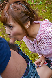 Anna Anjo - Sexy Anna Anjo gives Japanese blowjob in outdoor  - Picture 1