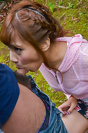 Anna Anjo - Sexy Anna Anjo gives Japanese blowjob in outdoor  - Picture 2