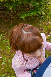 Anna Anjo - Sexy Anna Anjo gives Japanese blowjob in outdoor  - Picture 9