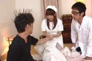 Hina Misaki in white stockings banged in group sex Photo 10