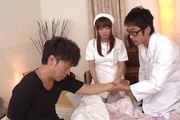 Hina Misaki in white stockings banged in group sex Photo 11