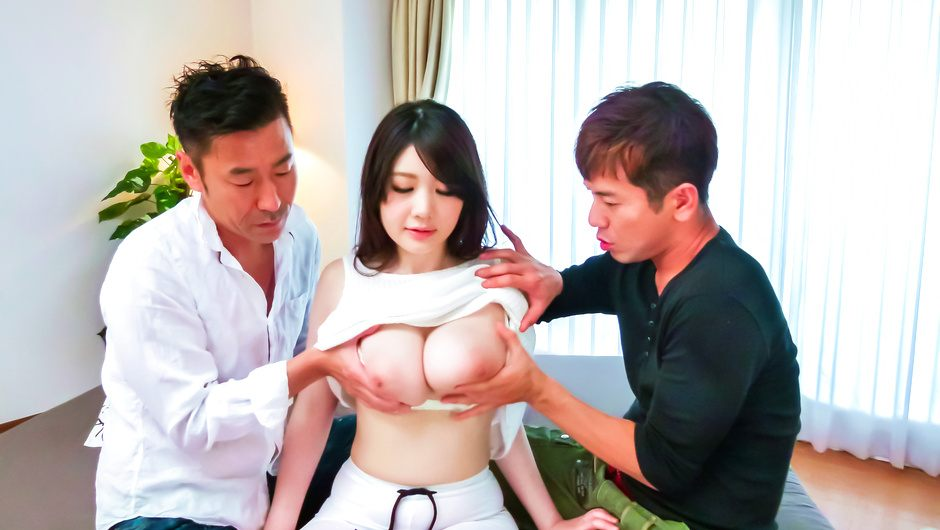 Rie Tachikawa's big asian tits are bouncing as she's fucked by two