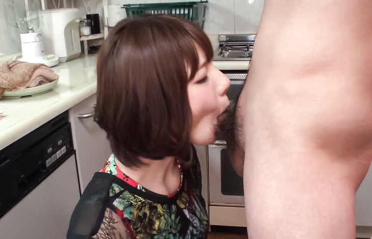 Japanese milf sucks dick until sperm fills her mouth  asian porn, asian hardcore