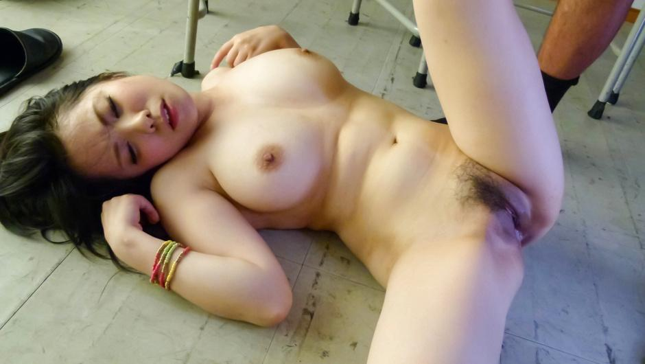 Hot milf teacher Miho Tsujii gets a mouthful in class